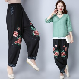 351national style large size embroidered cotton and linen loose casual pants
