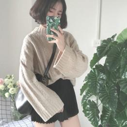 3350 retro twist large sleeves loose lazy half-high collar sweater