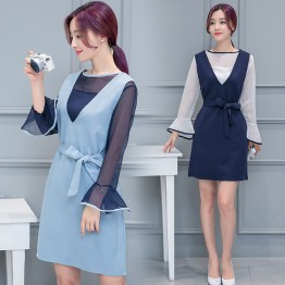 7082 ladies chiffon blouse with strap dress