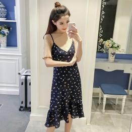 7166 # summer new women's dress skirt chiffon dress