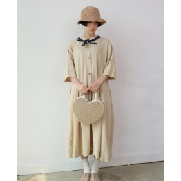 A318 summer retro chic preppy style pure color single-breasted lapel dress