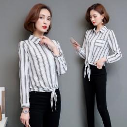 2038 stripes bottoming fashion large size long sleeve casual shirt