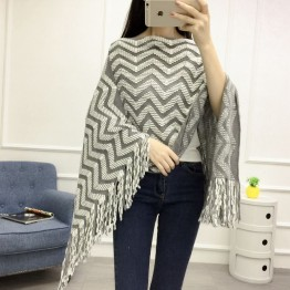Autumn and winter large size cloak shawl female mid section tassel head hedge wavy pattern sweater