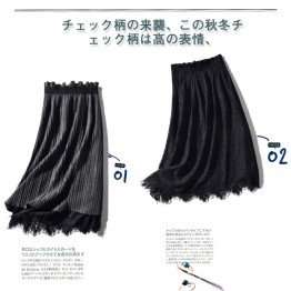 9622 lace splicing pleated skirt