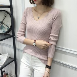 8093 Korean fashion thin V collar sweater
