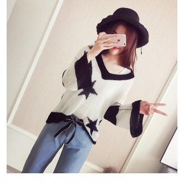 T116 summer new Korean fashion long-sleeved loose striped sweater