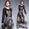 3306 new retro palace printing transparent long-sleeved dress