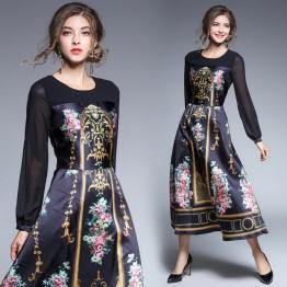 3306 new retro palace printing transparent long-sleeved dress