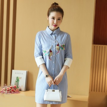 2017 Spring New Korean Style Wild Student Loose Embroidery Long Sleeve Top Casual Shirt