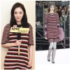 2017 autumn and winter new Yang Mi with the paragraph hit color stitching knitted dress