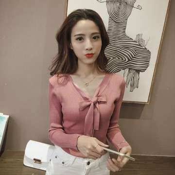 851 # 2017 Autumn new solid color Slim was thin V-neck long-sleeved sweater shirt