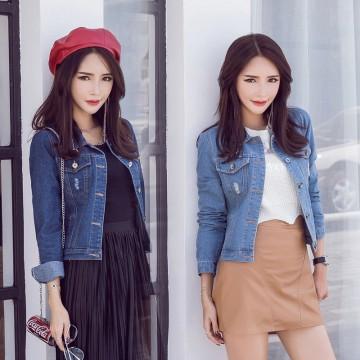 5556 spring Korean style long-sleeved slim short denim jacket
