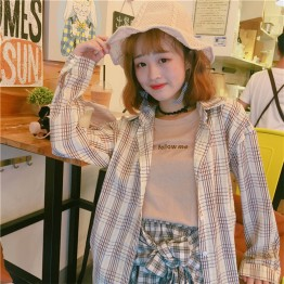 3189  Loose lattice long sleeve shirt