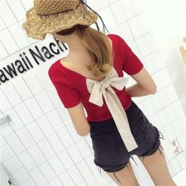 5115 bow back knit short sleeve t-shirt