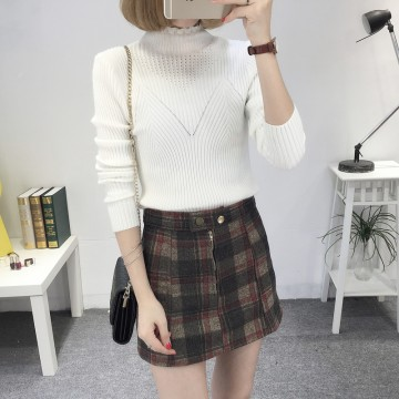 8080 # autumn and winter new Slim was thin high collar collar sweater female Korean long-sleeved wild base sweater