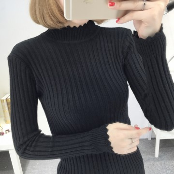 8077 # autumn women sweater new Korean version of the Slim shirt underwear solid color sweater sweater half-high collar shirt
