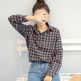 9152 Korean fashion loose retro red plaid shirt