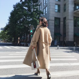 6633 Turkey Lamb Fur long coat