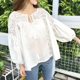 8091 Korean fashion hollow crochet white bubble sleeves shirt