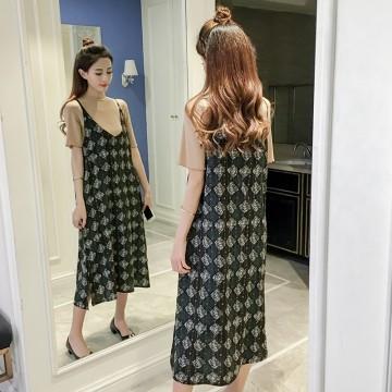 7165 # summer new women's dress skirt female chiffon dress + T-shirt two-piece suit