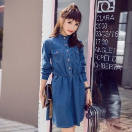 5559 spring and autumn Korean women long sleeves casual fashion joker denim dress
