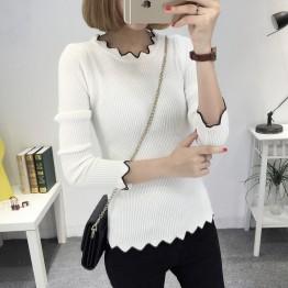 8073 wave collar women's bottom sweater