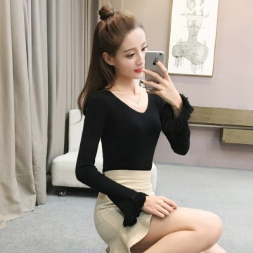 628 autumn and winter slim long trumpet sleeve knitted bottom shirt sweater