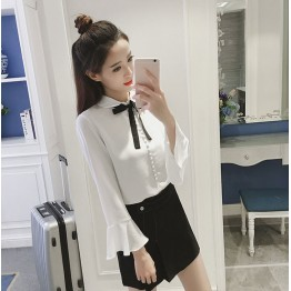 9200 Chiffon shirt long-sleeved lapel collar bow tie white shirt