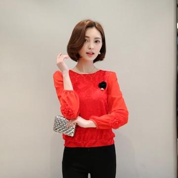 2017 new Korean version of the loose waist thin section lace chiffon bottoming shirt women long sleeve T shirt 8028