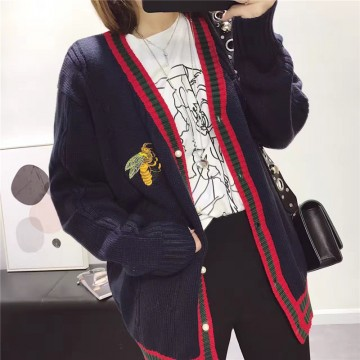 1022# Korean Academy bee embroidery cardigan sweater pearl buckle V collar knitted cardigan
