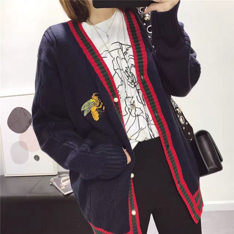 Academy cardigan bee embroidery pearl cardigan collar V Korean 1022 sweater buckle knitted EB5qxIYtw