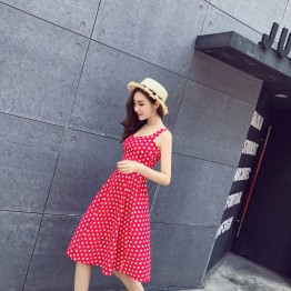 1266 gallus dot wide hem slim waist dress