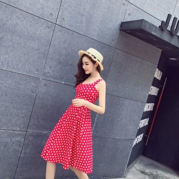 1266 # (real shot) harness wave point big put waist dress female