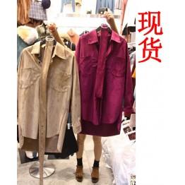 9577 autumn solid color lapel shirt