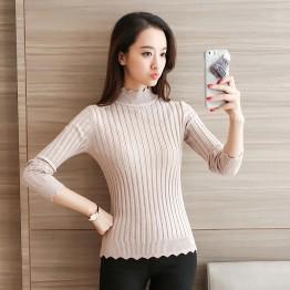 8055 women's long-sleeved elastic slim short sweater