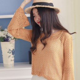 6607 Round Collar Shirt Sweater Spring Sleeve Long Sleeve Top