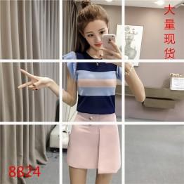 8824 Korean version stripes ice silk knitting tops
