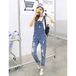 8506 preppy style loose hole suspender denim trousers