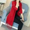 5096 autumn new hem tassel knitted cardigan sweater