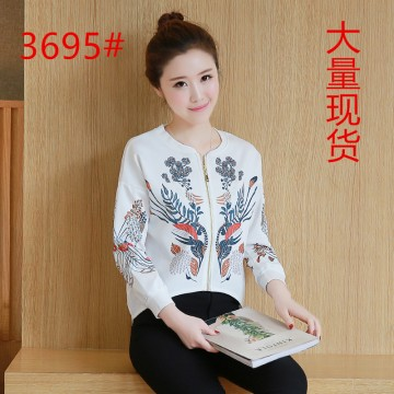 Korean loose baseball clothing long-sleeved cardigan short jacket