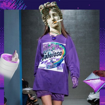 88002 Korea INS hot sale purple poisoning long-sleeved loose sweatshirt