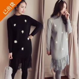 1669 new large size round collar hair ball lace splicing fake two piece knitted dress