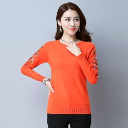 5209 autumn and winter embroidery long sleeve short backing sweater
