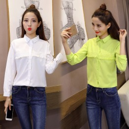 8006 autumn new Korean fashion tassel long-sleeved slim shirt