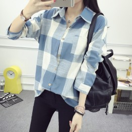 5010 autumn new Korean style plaid long sleeves loose joker shirt