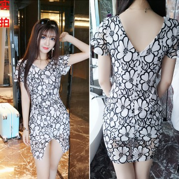 The new fashion sexy V collar collar waist buttocks short sleeves dress # 3394