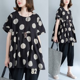 8790 large size women's cotton printing dots waist  T-shirt