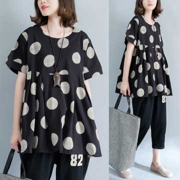 large size women's cotton printing dots waist thin T shirt skirt 8790 #