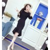 2017 new sweet word long collar shirt + irregular fishtail skirt suit 9156
