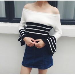 6137 Korean fashion off shoulder lotus leaf sleeves stripes sweater
